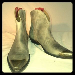 FREE PEOPLE Ankle Boots with Steel Toe Accent